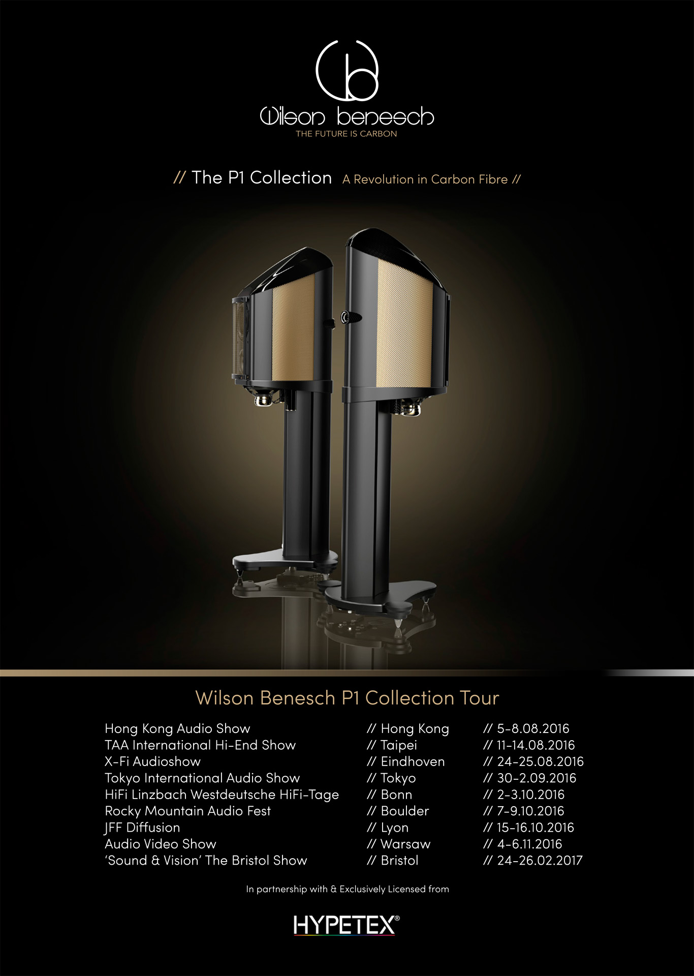 Geometry Series P1 Collection Tour Poster showing Endeavour P1 finished in Champagne Gold Coloured Carbon Fibre