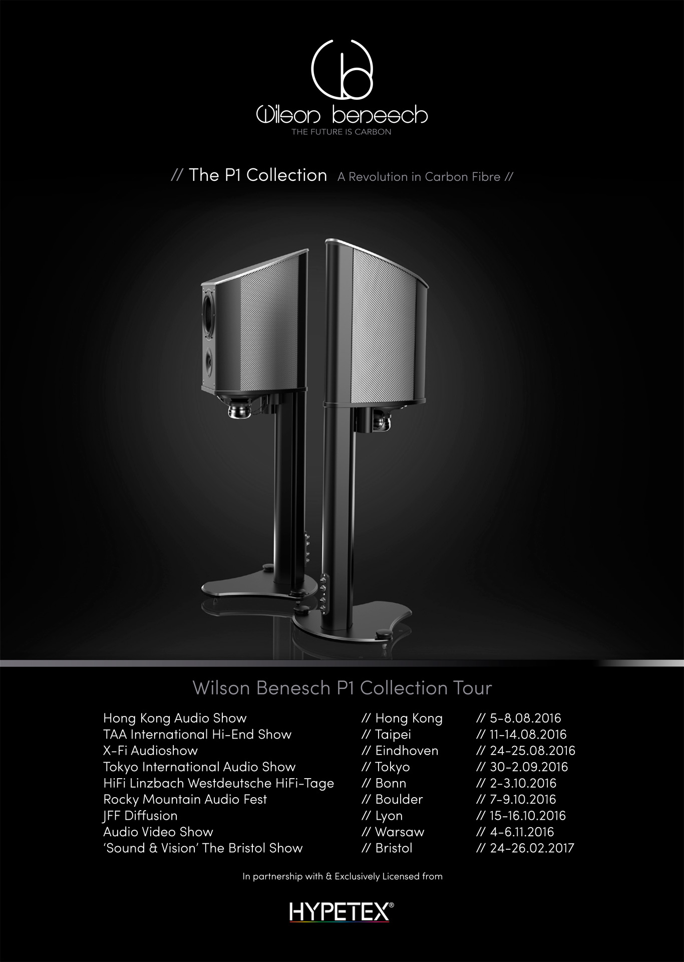 Geometry Series P1 Collection Tour Poster showing Discovery II P1 finished in Silverstone Silver Coloured Carbon Fibre