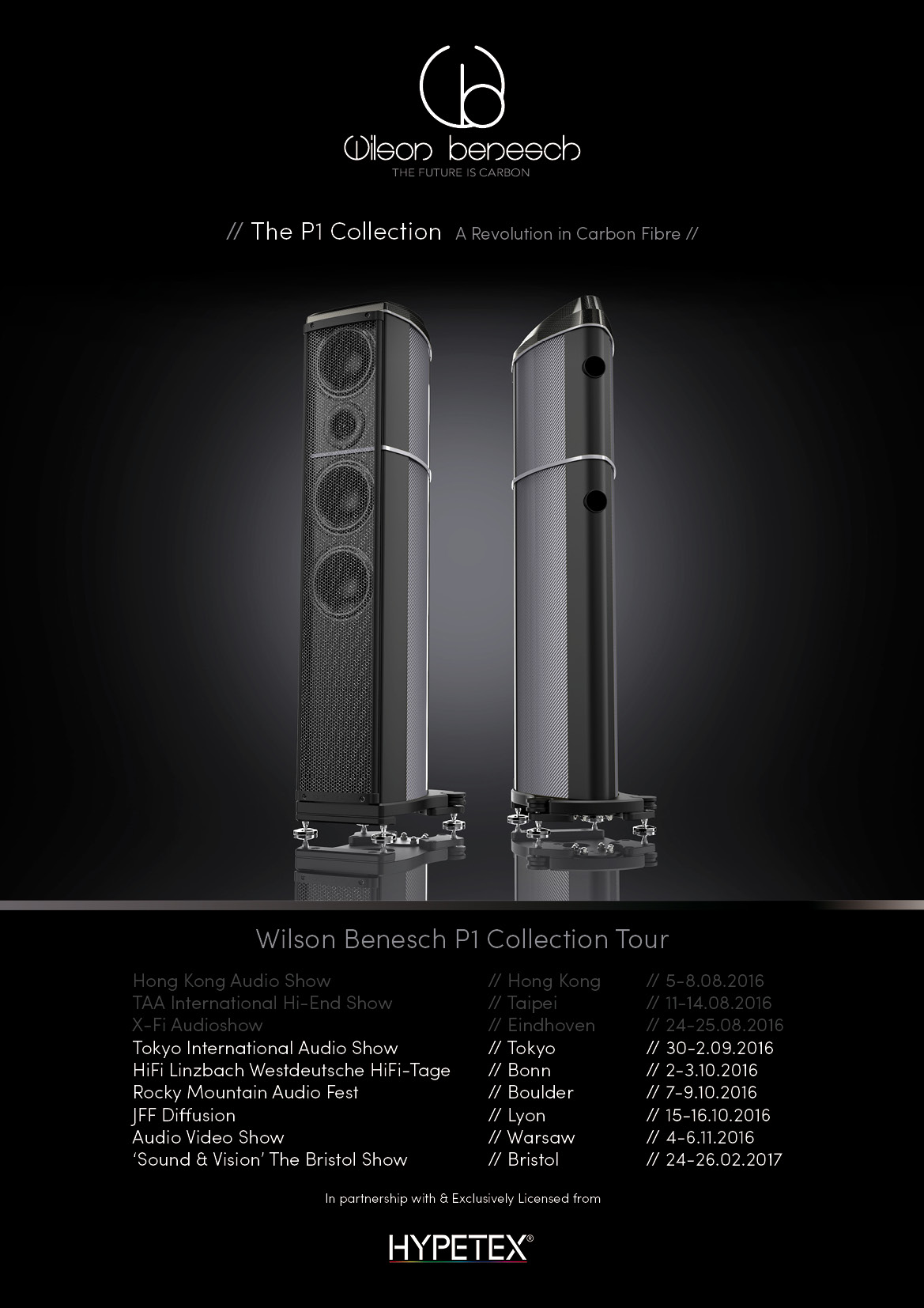 Geometry Series P1 Collection Tour Poster showing A.C.T. One Evolution P1 Loudspeaker finished in Silverstone Hypetex Coloured Carbon Fibre