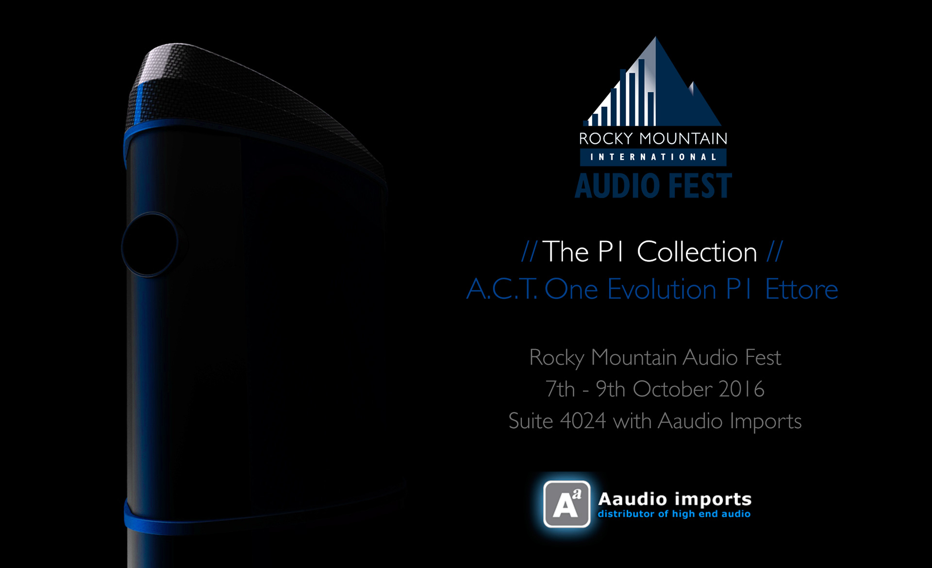 Geometry Series P1 Collection Tour Poster showing A.C.T. One Evolution P1 Loudspeaker finished in a bespoke Ettore Blue Hypetex Coloured Carbon Fibre