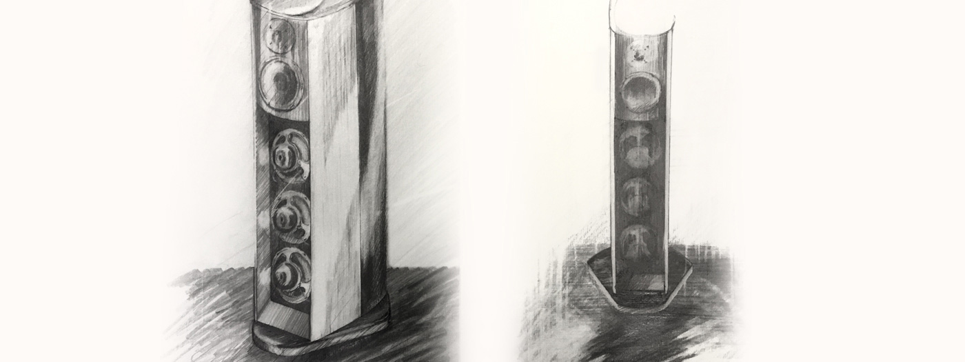 Early sketchwork of Wilson Benesch speakers