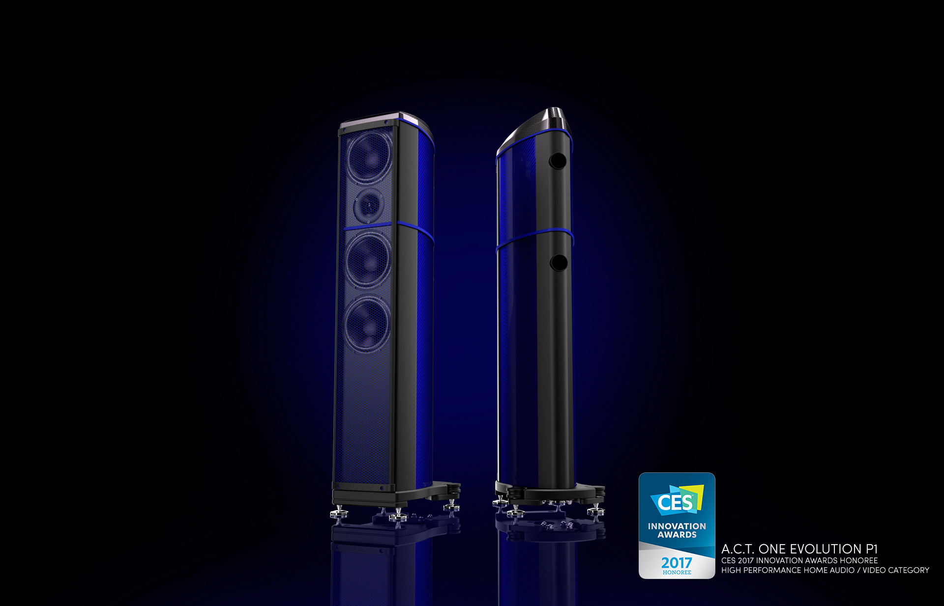 A.C.T. One Evolution P1 - Coloured Carbon Fibre - Floorstanding Loudspeaker - Ettore Blue Finish - CES 2017 - Innovation Award Honouree