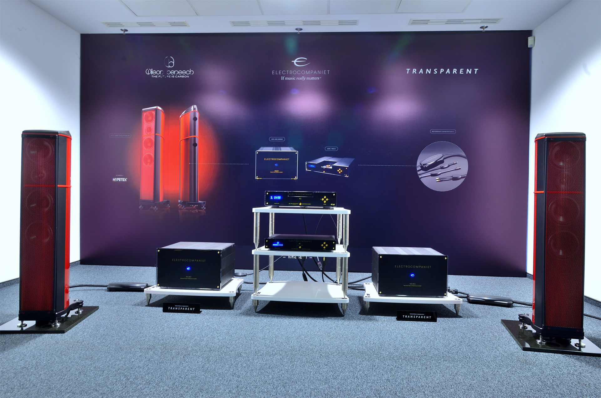 A.C.T. One Evolution P1 'Enzo' Coloured Carbon Fibre Loudspeaker at Warsaw High End 2016 with Electrocompaniet