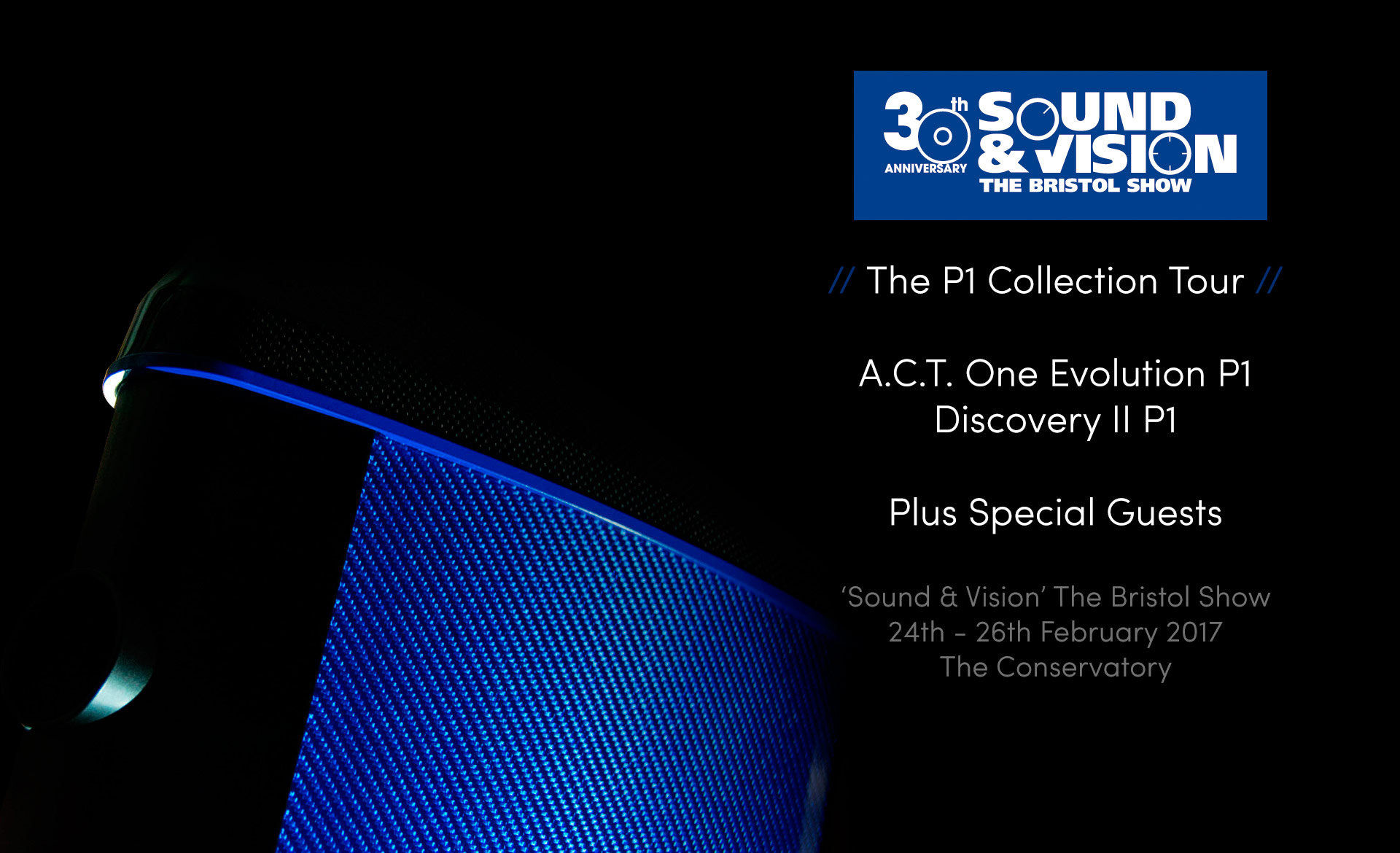 Geometry Series P1 Collection Tour Poster showing A.C.T. One Evolution P1 Loudspeaker finished in Ettore Blue Hypetex Coloured Carbon Fibre