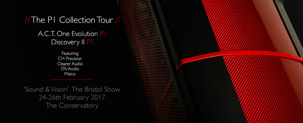 Geometry Series P1 Collection Tour Poster showing A.C.T. One Evolution P1 Loudspeaker finished in Enzo Red Hypetex Coloured Carbon Fibre