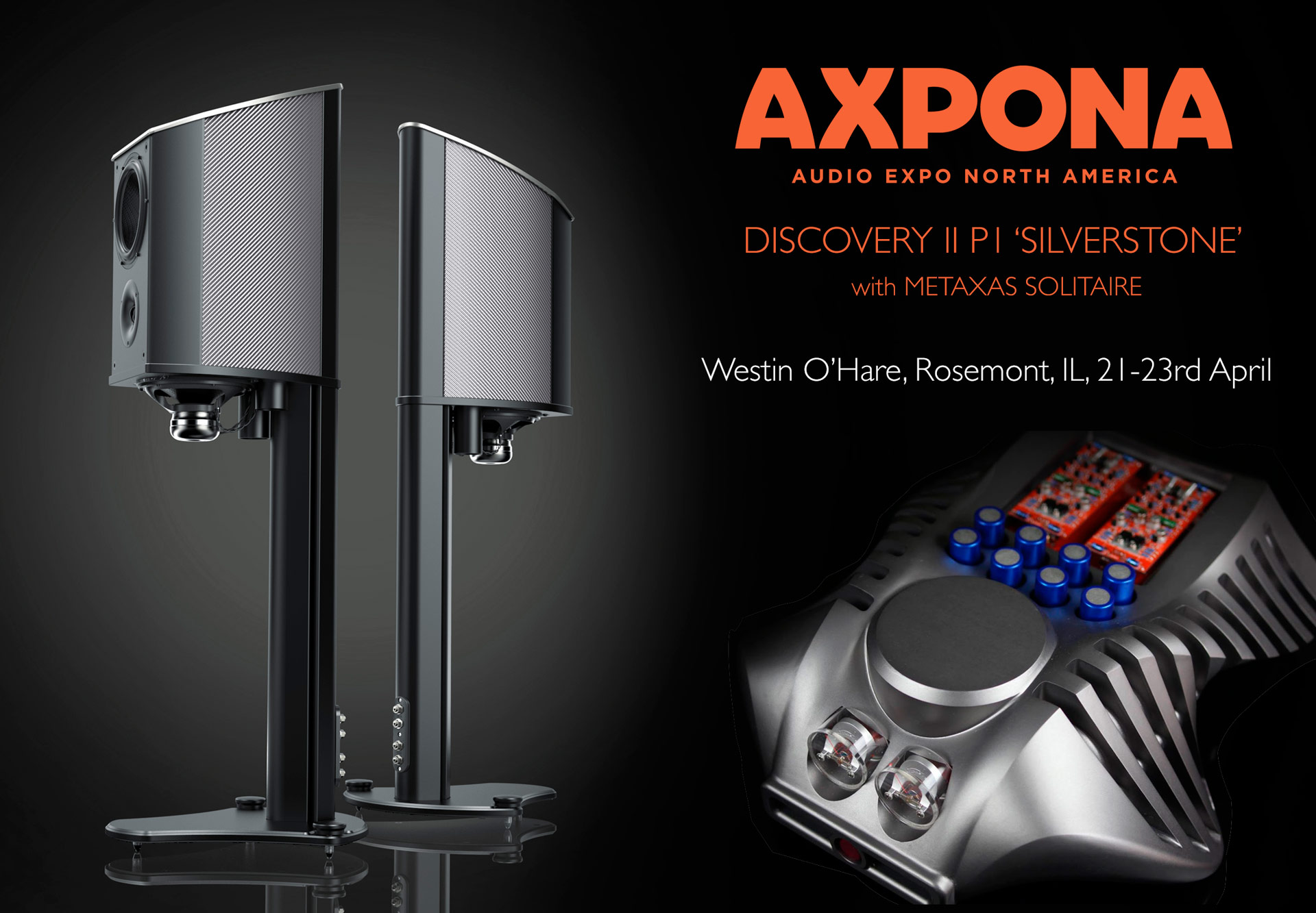 Geometry Series poster showing the Carbon Fibre Discovery II Loudspeaker with Metaxas Solitaire for the AXPONA Chicago USA lifstyle