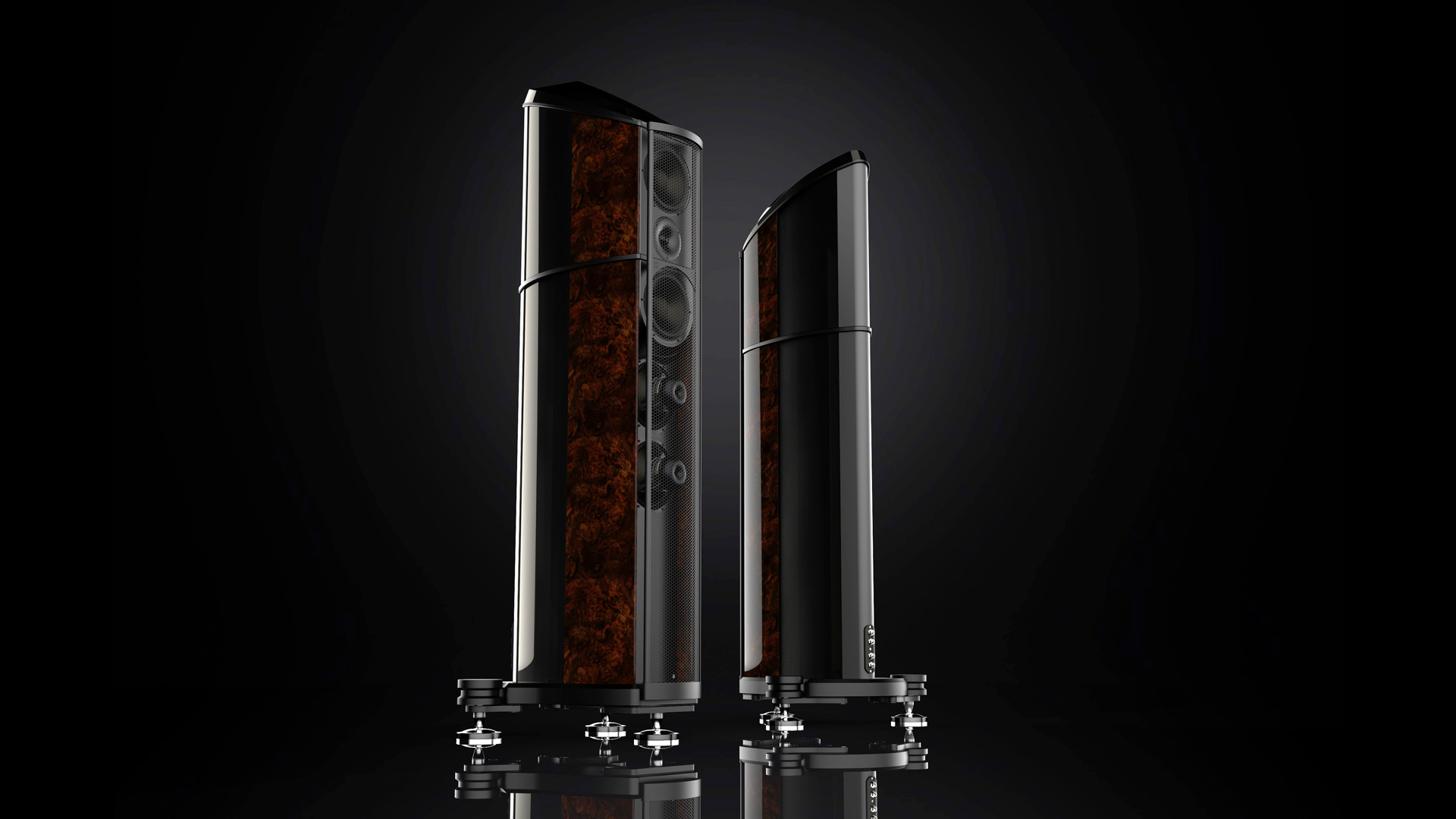 Geometry Series poster showing the Carbon Fibre Resolution floorstanding loudspeaker finished in Burr Walnut Gloss
