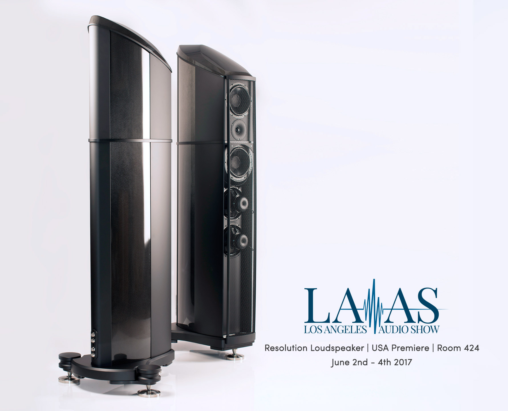 Geometry Series Resolution loudspeaker debuting at the Los Angeles Audio Show 2017, poster showing the Tactic II Isobaric Drive System in a Burr Walnut finished loudspeaker